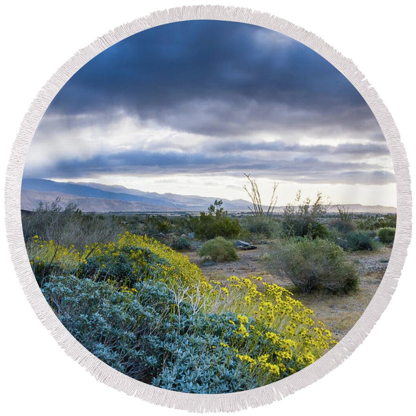 Wildflowers Round Beach Towel featuring the photograph Rain Clouds by Jerry Sellers
