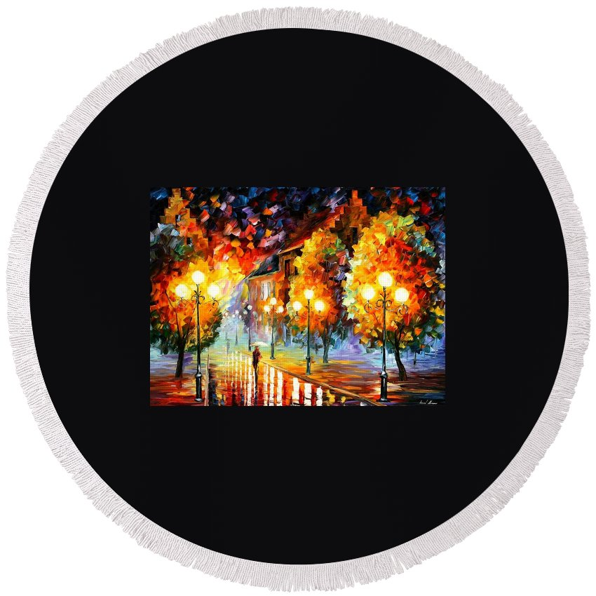 Afremov Round Beach Towel featuring the painting Rain In The Night City by Leonid Afremov