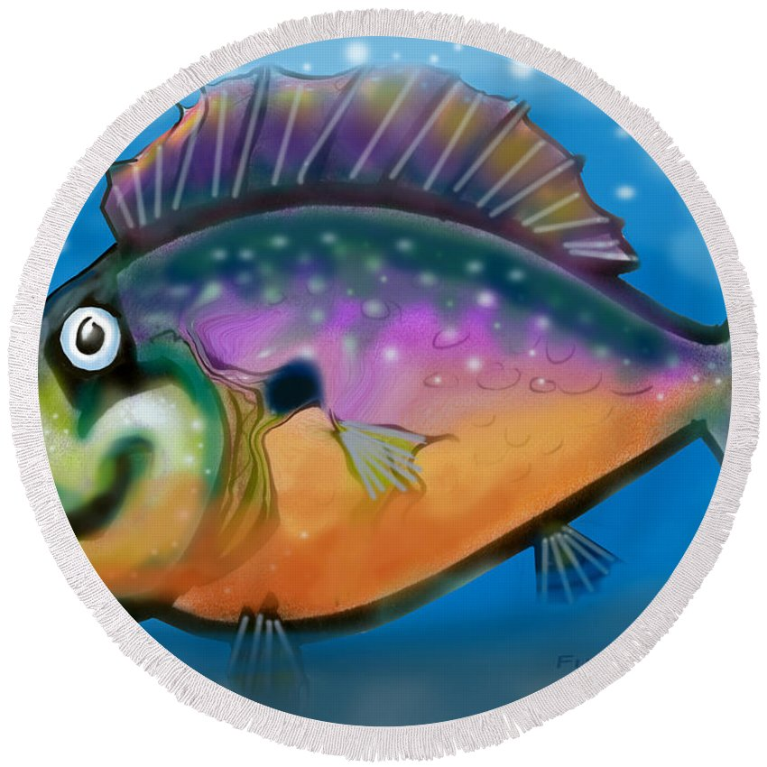 Fish Round Beach Towel featuring the greeting card Rainbow Fish by Kevin Middleton