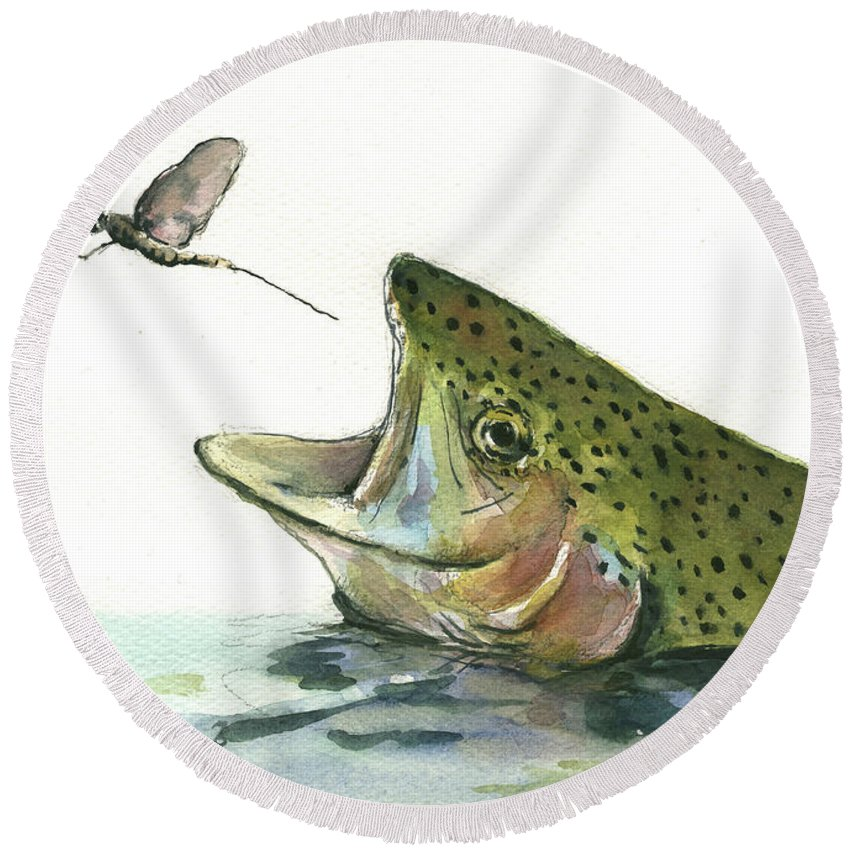 Trout Round Beach Towels