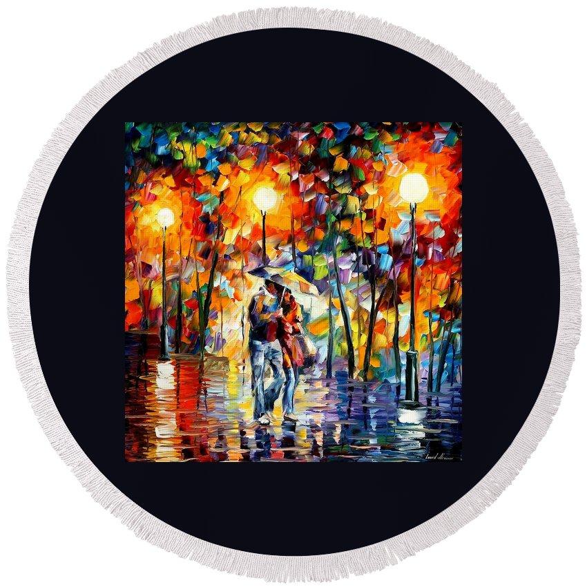 Afremov Round Beach Towel featuring the painting Rainy Evening by Leonid Afremov