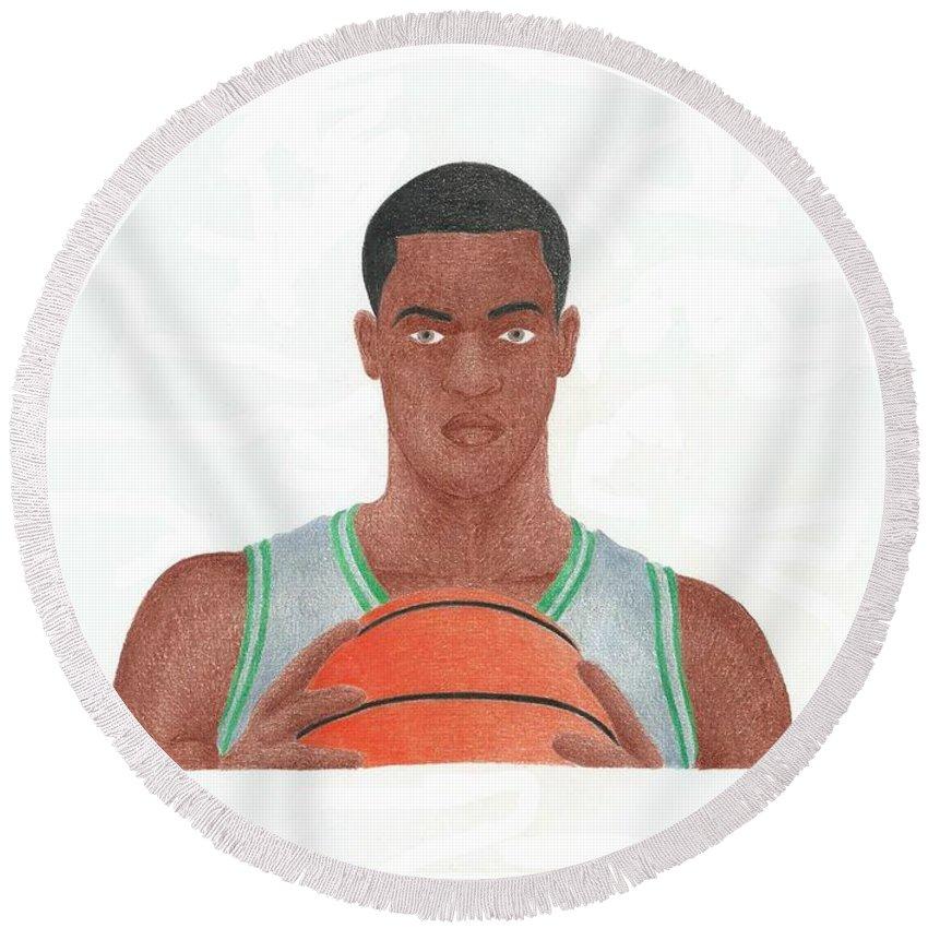 Basketball Round Beach Towel featuring the drawing Rajon Rondo by Toni Jaso