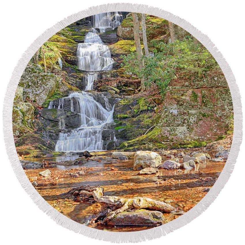 Water Round Beach Towel featuring the photograph Buttermilk Falls by Paul Fell