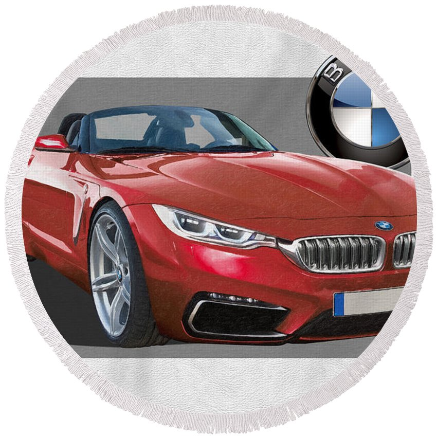 �bmw� Collection By Serge Averbukh Round Beach Towel featuring the photograph Red 2018 B M W Z 5 with 3 D Badge by Serge Averbukh