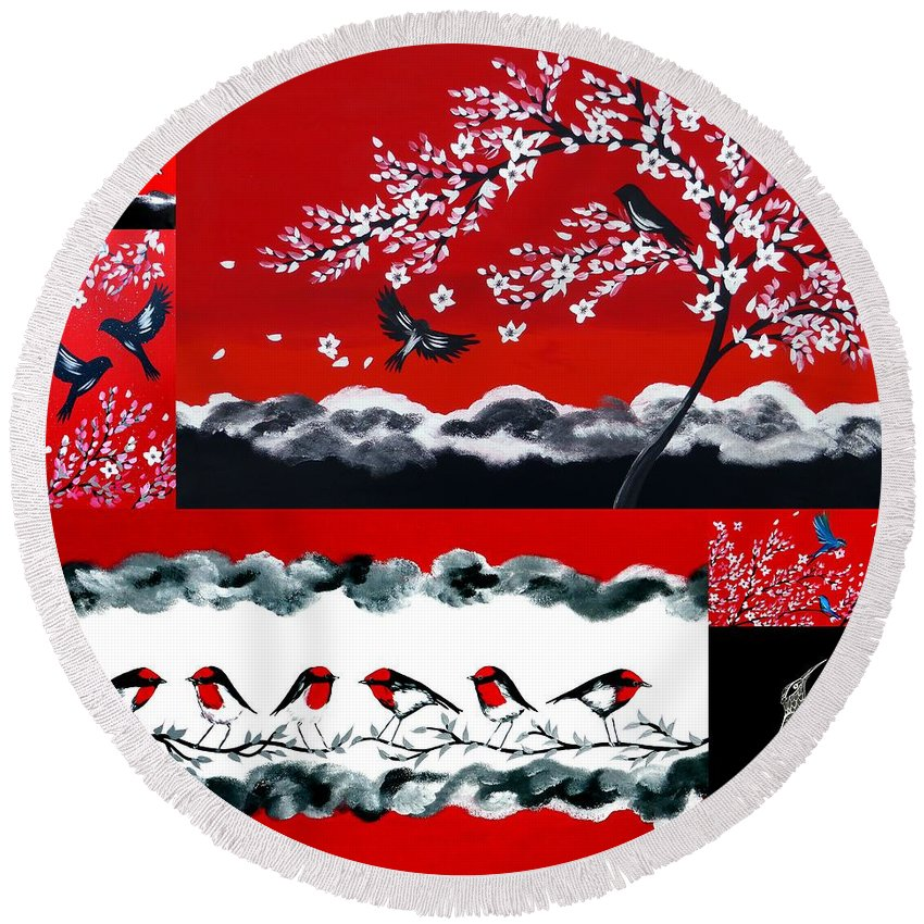 Red Round Beach Towel featuring the painting Red And Black by Cathy Jacobs