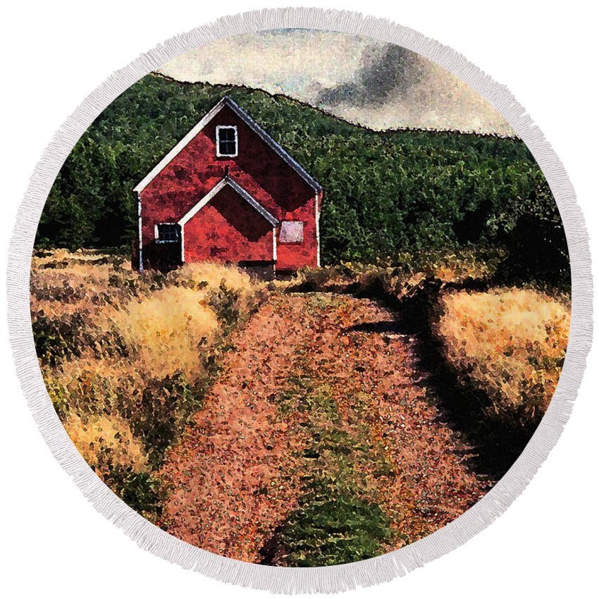 Red Barn Round Beach Towel featuring the photograph Red Barn Road by Ed A Gage