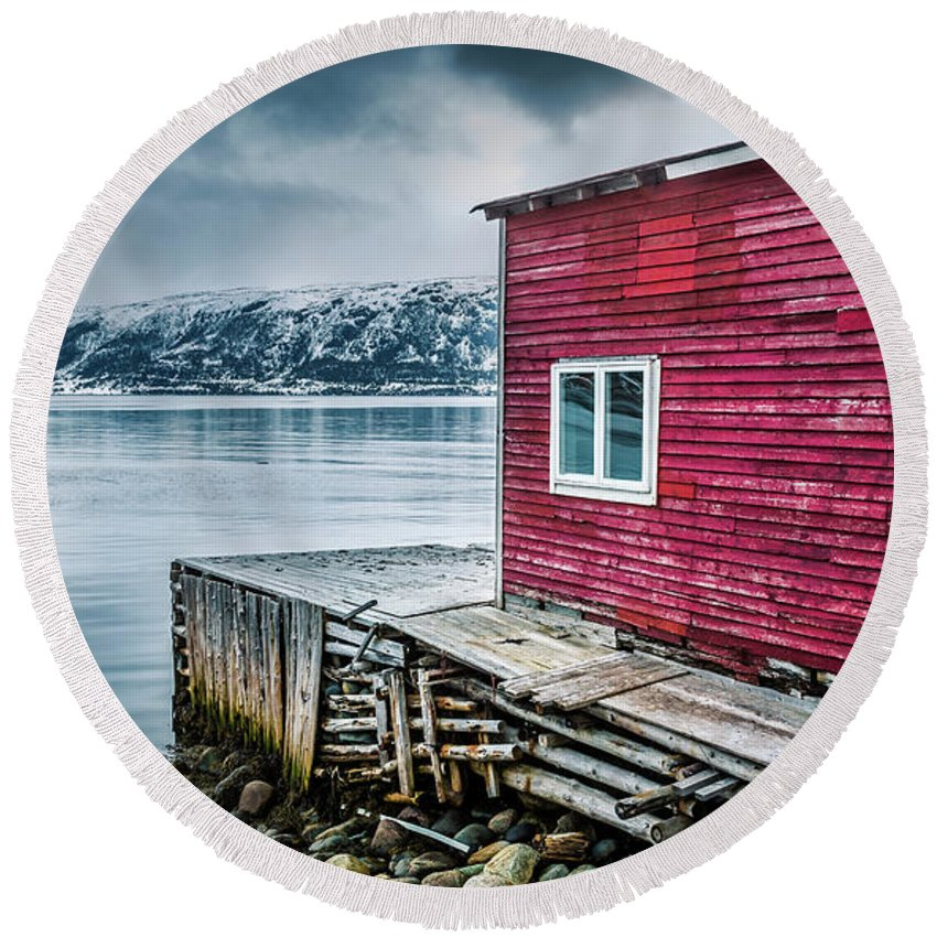 Red Round Beach Towel featuring the photograph Red Boathouse In Norris Point, Newfoundland by Mike Organ