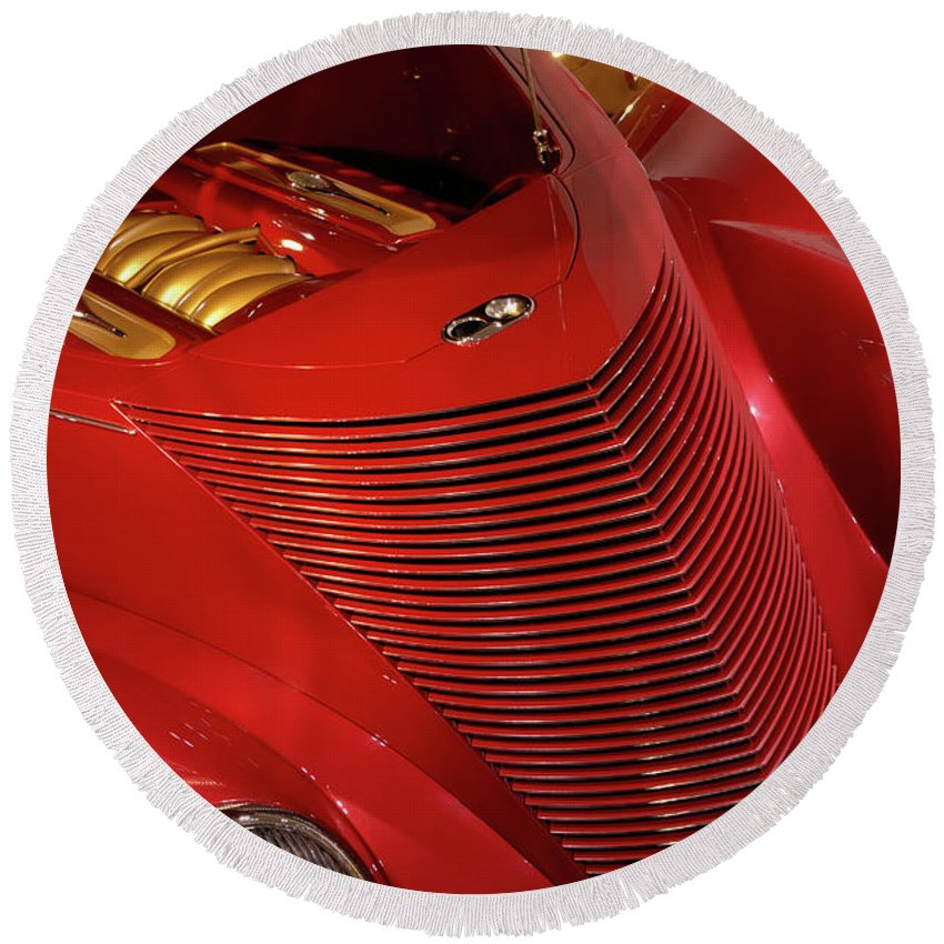 Car Round Beach Towel featuring the photograph Red Classic Car Details by Maxim Images Prints