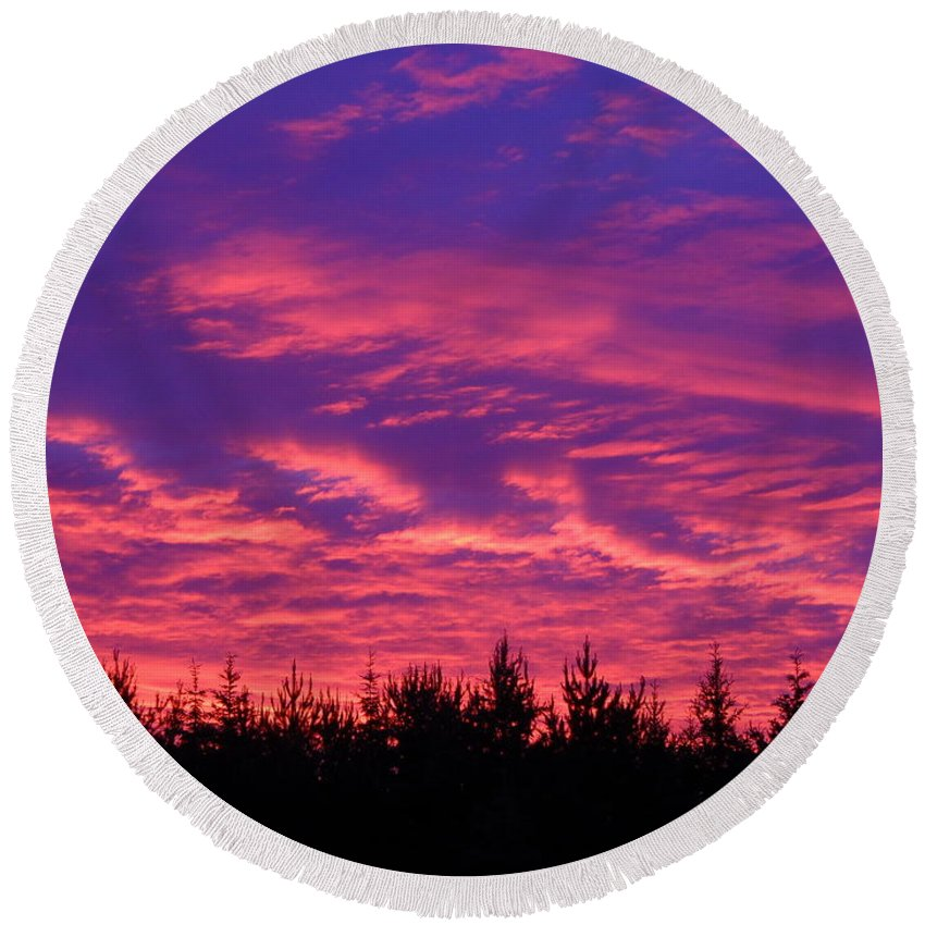 Clouds Round Beach Towel featuring the photograph Red Clouds At Dawn by Kent Lorentzen