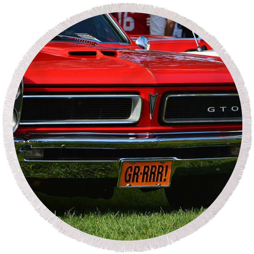Round Beach Towel featuring the photograph red GTO by Dean Ferreira