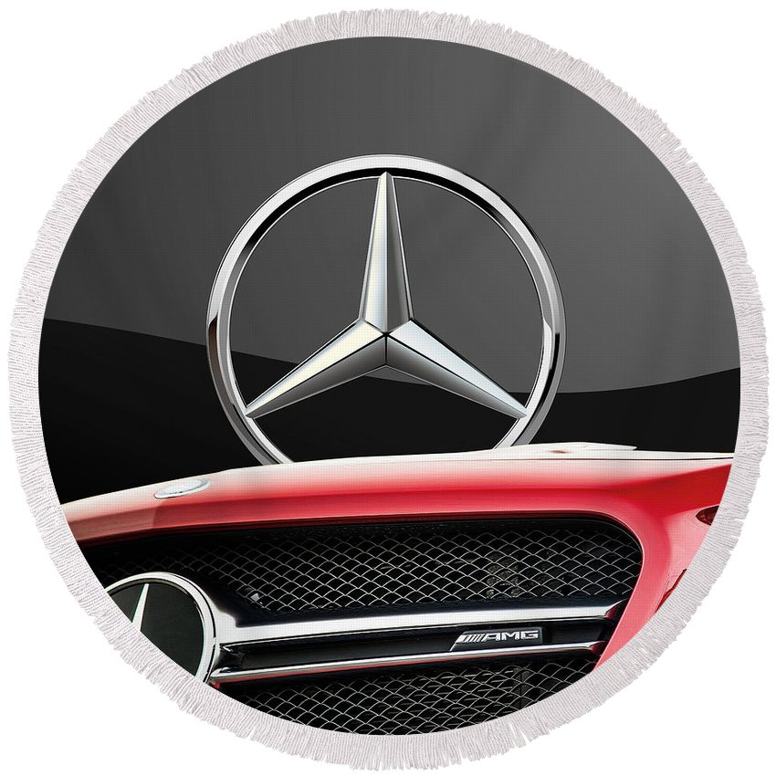 'auto Badges' By Serge Averbukh Round Beach Towel featuring the photograph Red Mercedes - Front Grill Ornament and 3 D Badge on Black by Serge Averbukh
