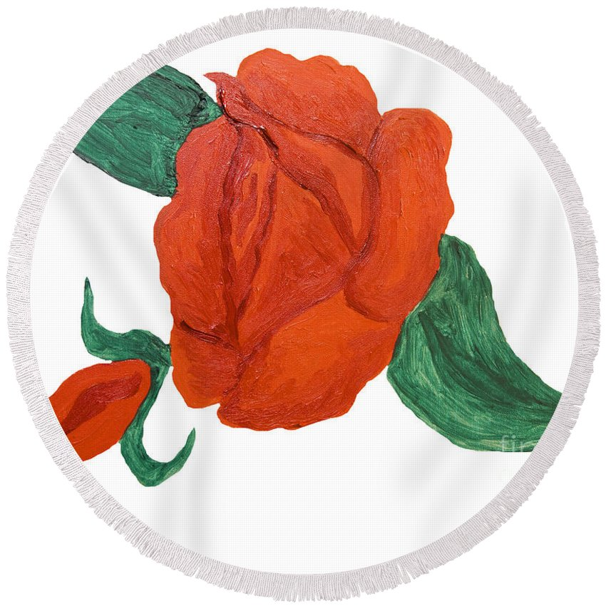 Rose Round Beach Towel featuring the painting Red Rose, Oil Painting by Irina Afonskaya