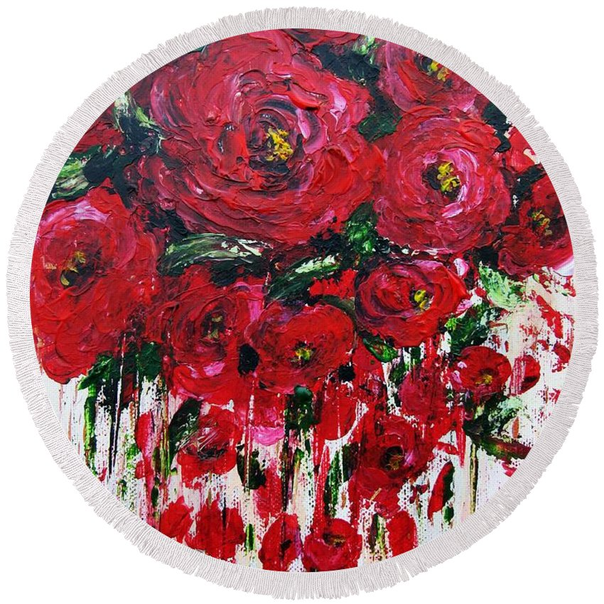 Flowers Round Beach Towel featuring the painting Red Roses by Vesna Martinjak