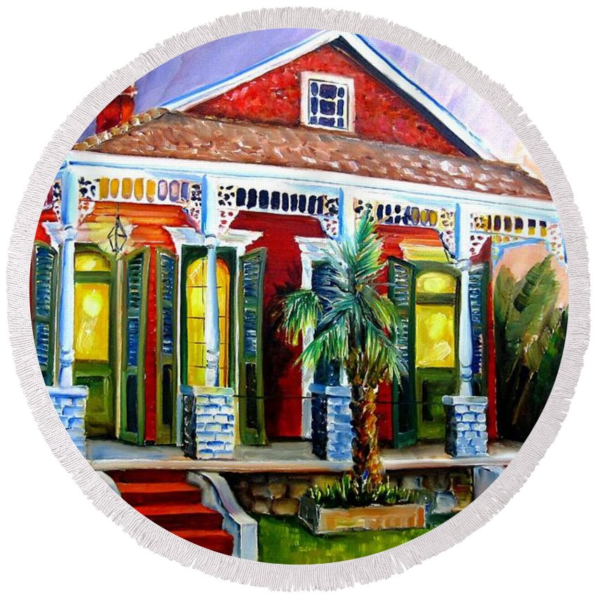 New Orleans Round Beach Towel featuring the painting Red Shotgun House by Diane Millsap