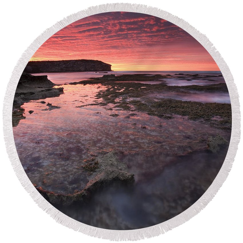 Sunrise Round Beach Towel featuring the photograph Red Sky At Morning by Mike Dawson