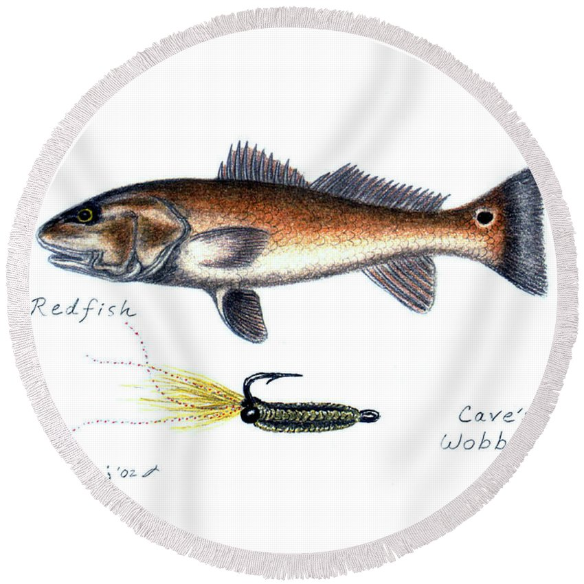 Fish Round Beach Towel featuring the drawing Redfish And Cave's Wobbler by Daniel Lindvig