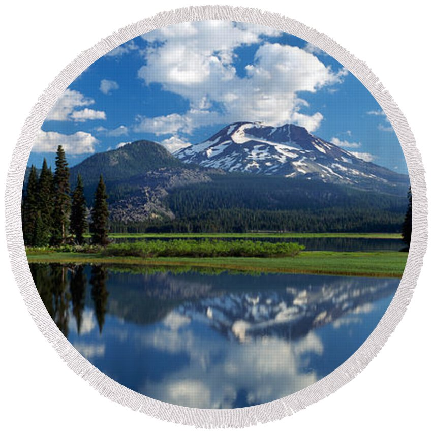 Photography Round Beach Towel featuring the photograph Reflection Of A Mountain In Water by Panoramic Images