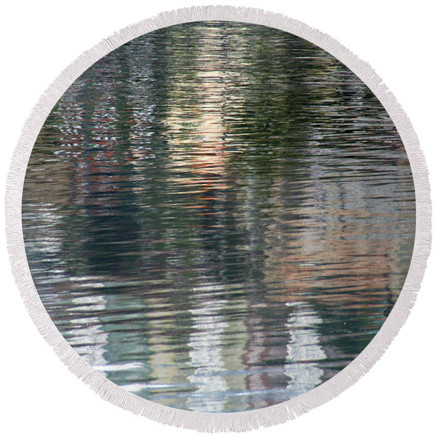 Reflection Round Beach Towel featuring the photograph Reflections In Water by Vladi Alon