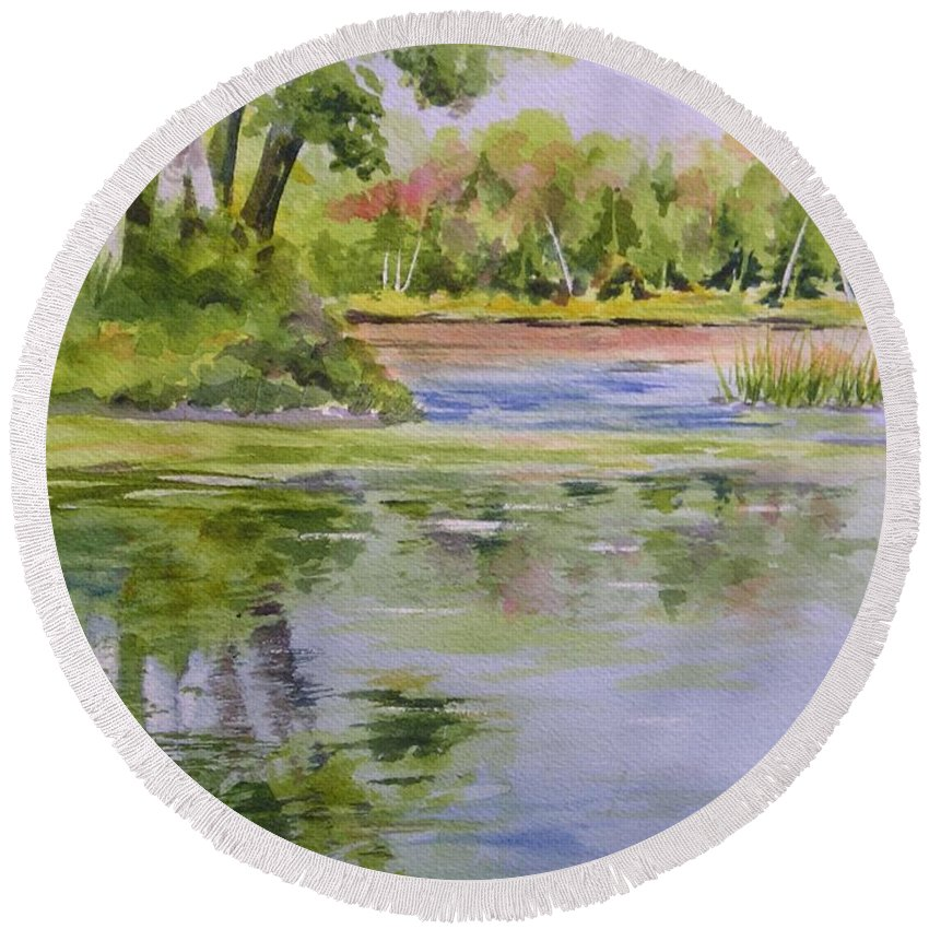 Watercolor Round Beach Towel featuring the painting Reflections by Kristen Anderson Hill