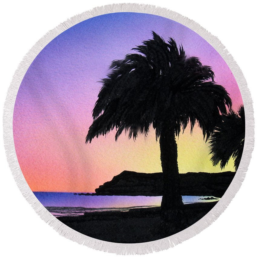 Beach Round Beach Towel featuring the painting Refugio Point 1 by Angie Hamlin
