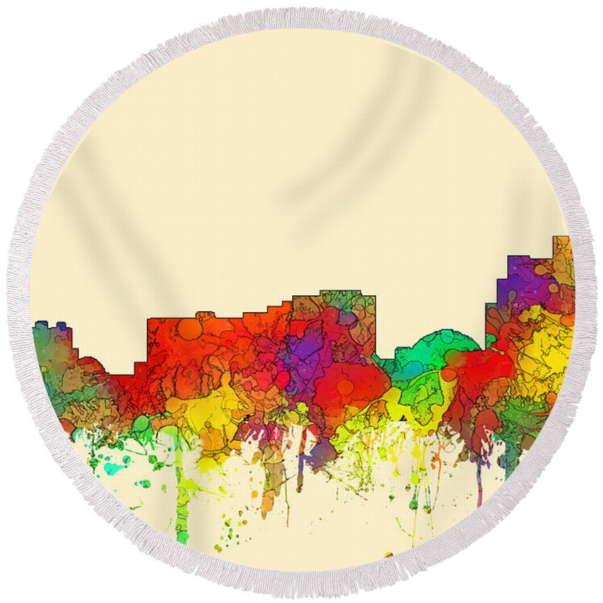 Reno Nevada Skyline Round Beach Towel featuring the digital art Reno Nevada Skyline by Marlene Watson