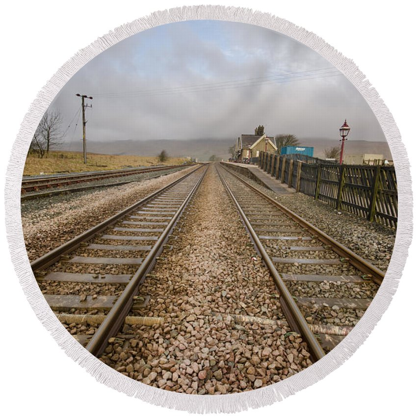 Ribblehead Viaduct Round Beach Towel featuring the photograph Ribblehead Station by Smart Aviation