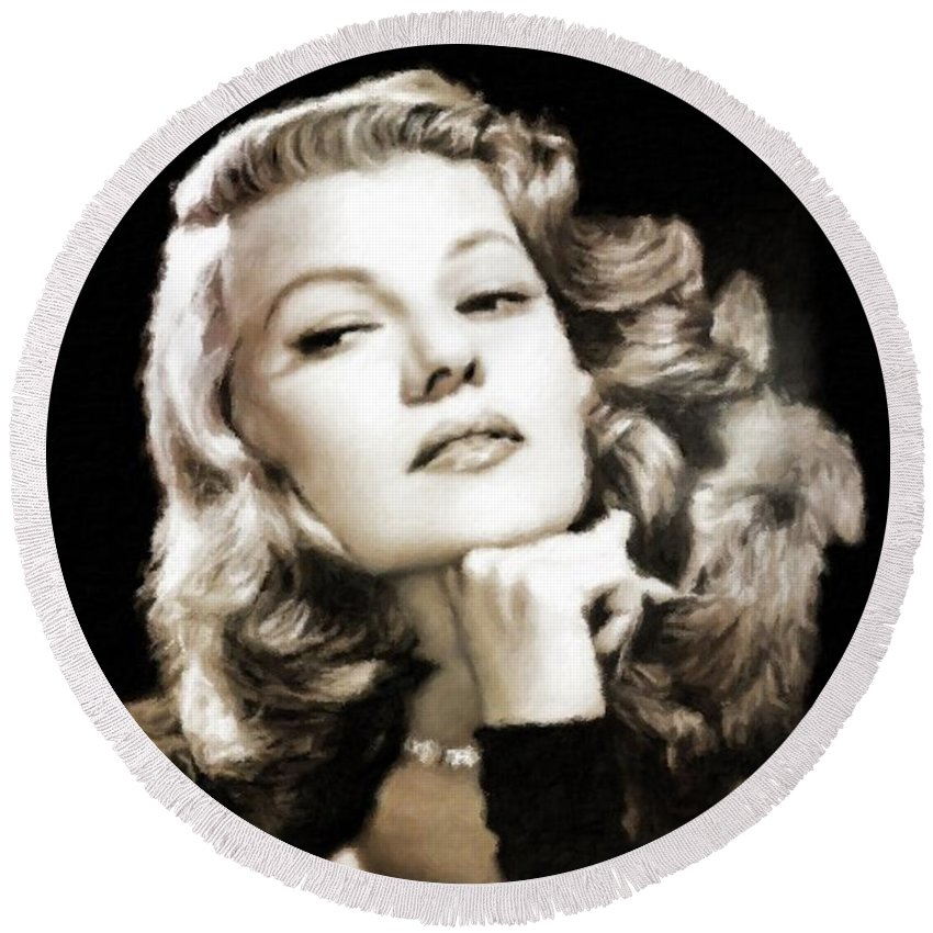Hollywood Round Beach Towel featuring the painting Rita Hayworth By Mary Bassett by Mary Bassett