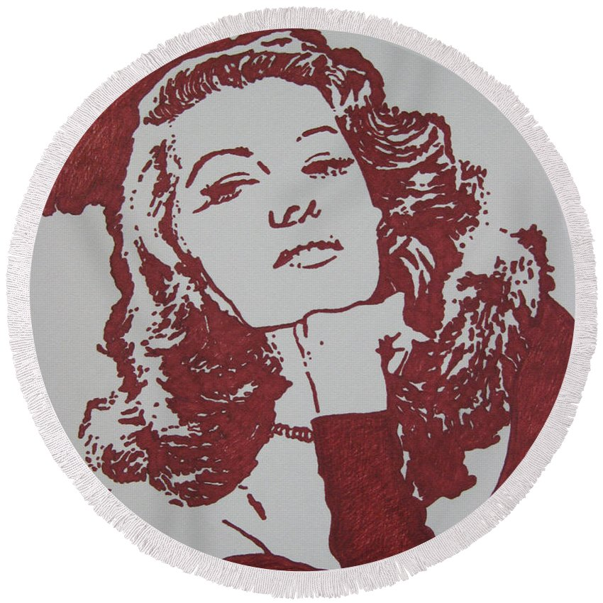 Rita Round Beach Towel featuring the drawing Rita by Lynet McDonald