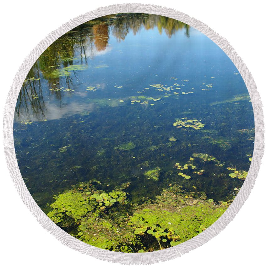Water Round Beach Towel featuring the photograph River Water Pollution by Scimat