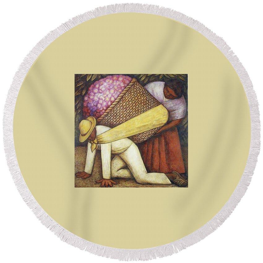 Corn Round Beach Towel featuring the digital art Rivera 43 Diego Rivera by Eloisa Mannion