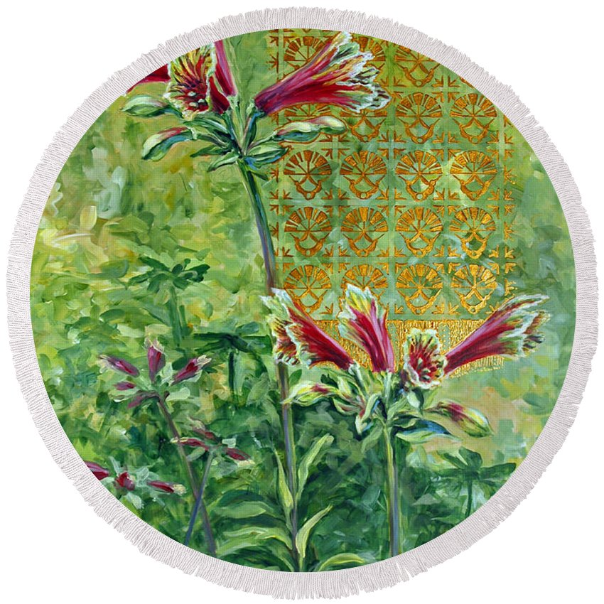 Acrylic Round Beach Towel featuring the painting Roadside Discovery by Suzanne McKee