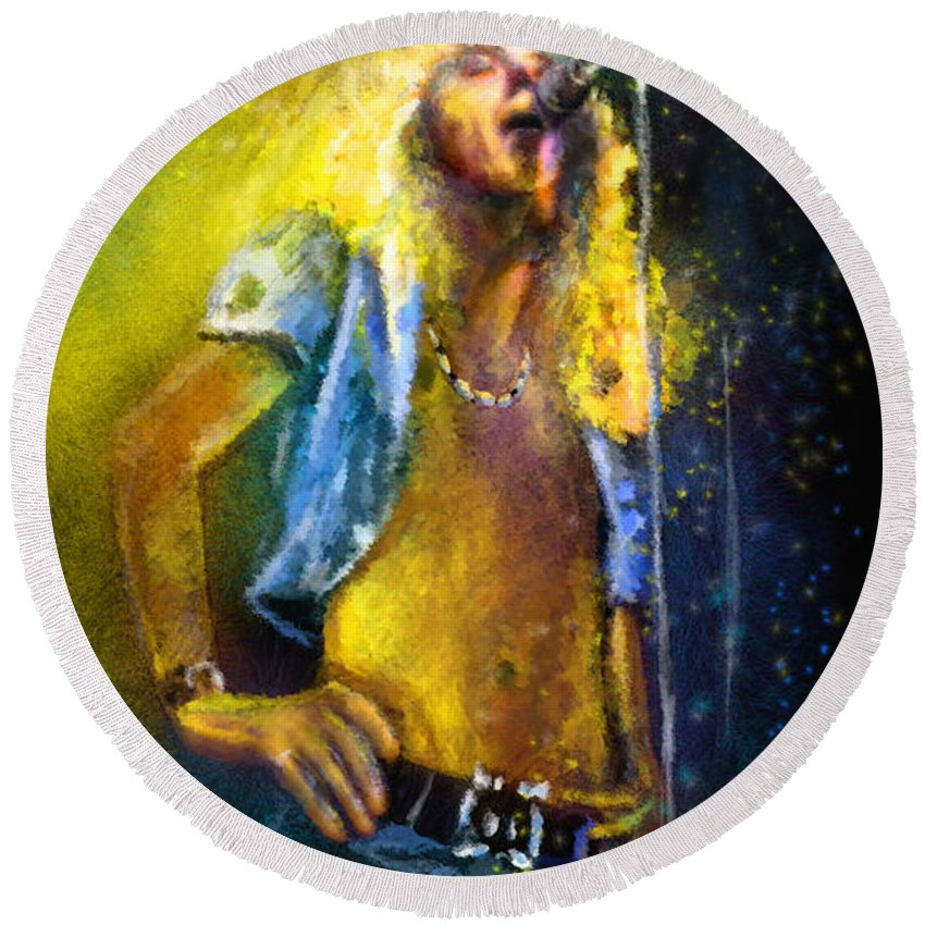 Music Round Beach Towel featuring the painting Robert Plant 01 by Miki De Goodaboom