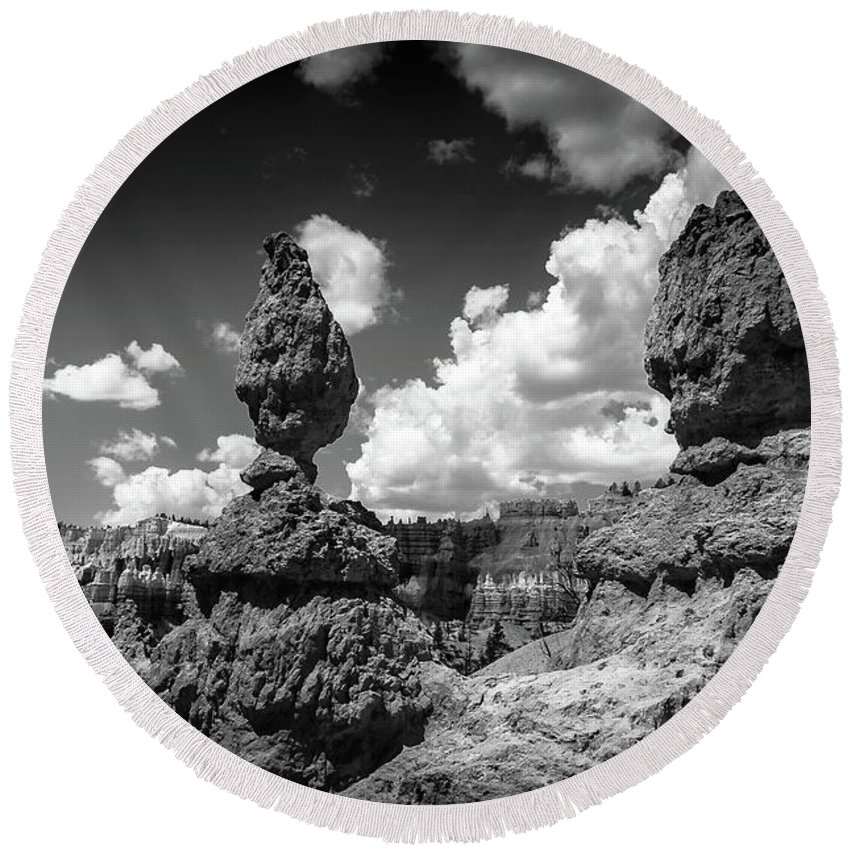 Bryce Canyon Round Beach Towel featuring the photograph Rock Formations Of Bryce Canyon by Bob Cuthbert