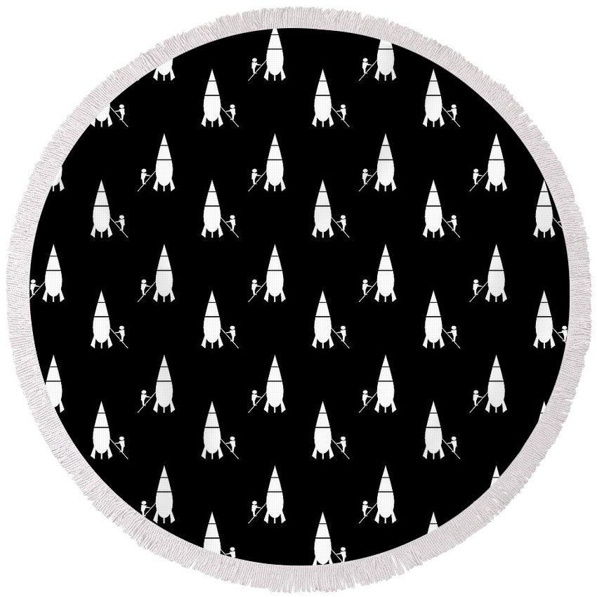 Background Round Beach Towel featuring the digital art Rocket Scientist Wallpaper by Richard Wareham