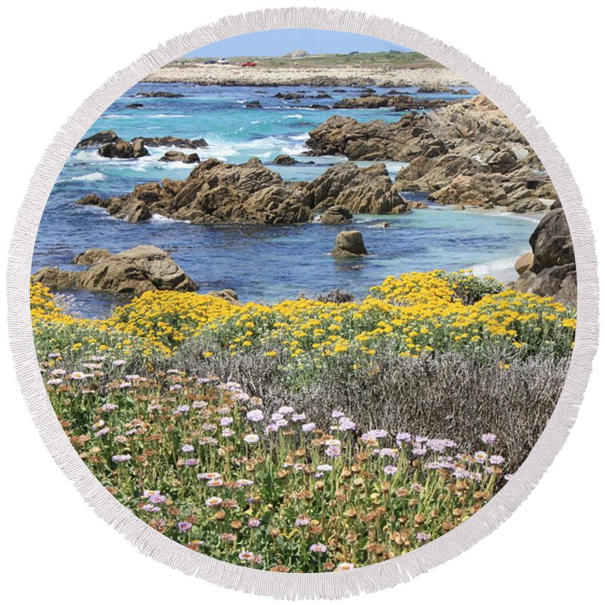 California Round Beach Towel featuring the photograph Rocky Surf With Wildflowers by Carol Groenen