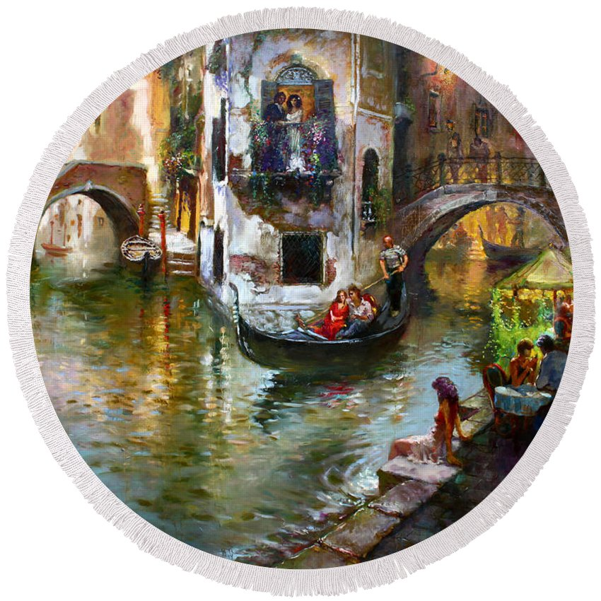 Romance In Venice Round Beach Towel featuring the painting Romance in Venice by Ylli Haruni