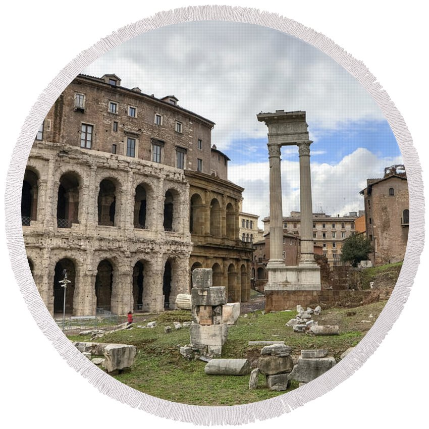 Teatro Di Marcello Round Beach Towel featuring the photograph Rome - Theatre Of Marcellus by Joana Kruse