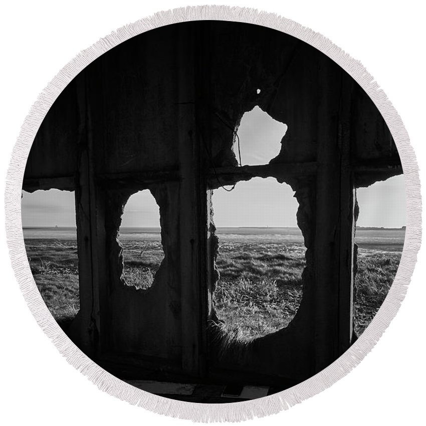 Abandoned Round Beach Towel featuring the photograph Room With A View by Keith Elliott