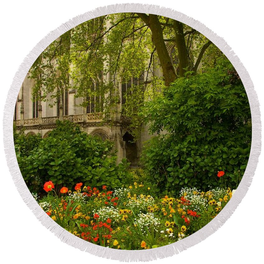 Landscape Round Beach Towel featuring the photograph Rouen Abbey Garden by Lenore Holt-Darcy
