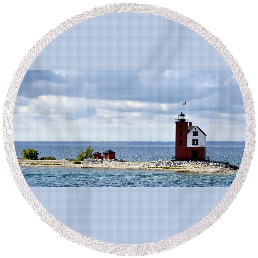 Mackinac Island Round Beach Towel featuring the photograph Round Island Lighthouse by Marysue Ryan