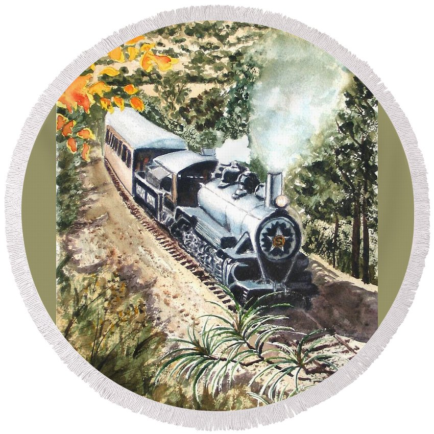 Trains Round Beach Towel featuring the painting Round The Bend by Karen Ilari
