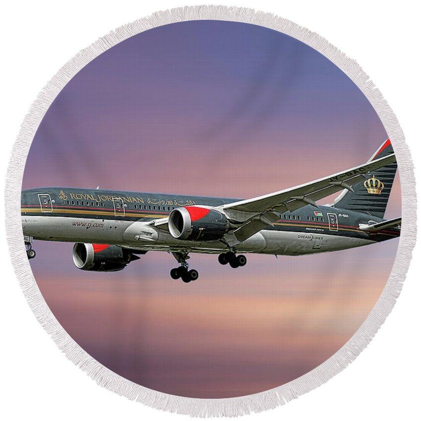 Royal Jordanian Round Beach Towel featuring the mixed media Royal Jordanian Boeing 787-8 Dreamliner by Smart Aviation