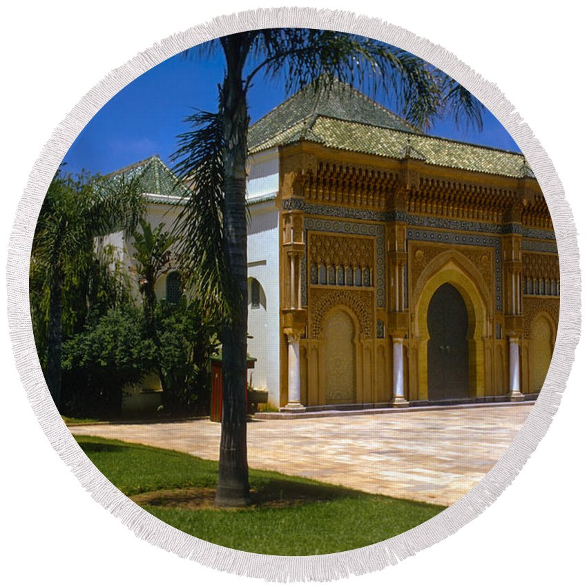 Rabat Round Beach Towel featuring the photograph Royal Palace by Bob Phillips