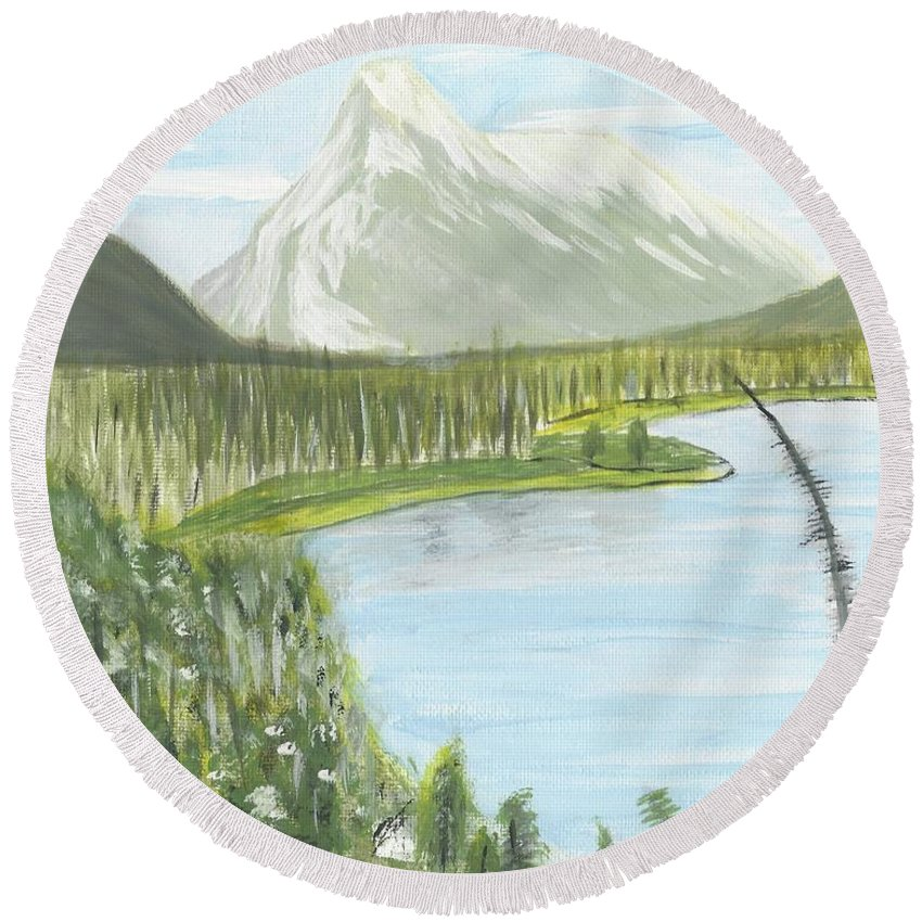 Acrylic Round Beach Towel featuring the painting Rundle From Banff by Nicki Bennett