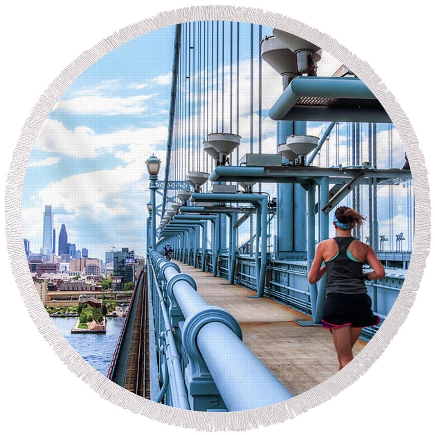 Philly Round Beach Towel featuring the photograph Running The Bridge by Carol Ward