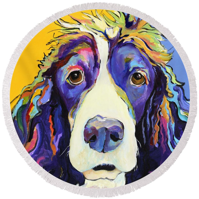 Blue Round Beach Towel featuring the painting Sadie by Pat Saunders-White