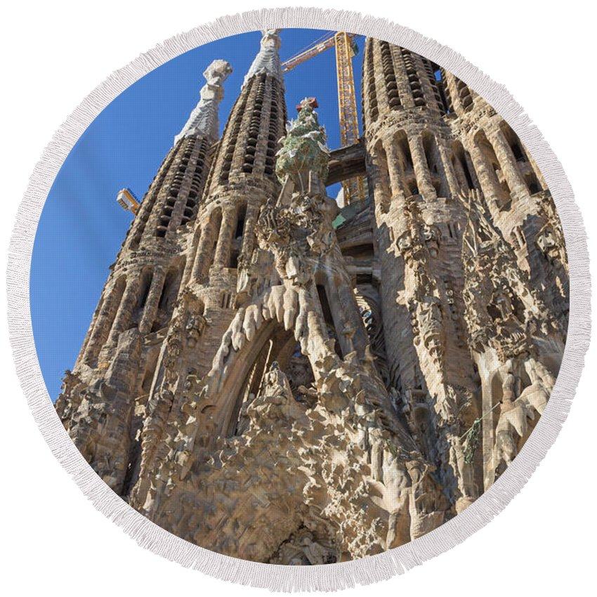 Europe Round Beach Towel featuring the photograph Sagrada Familia In Barcelona by Jaroslav Frank