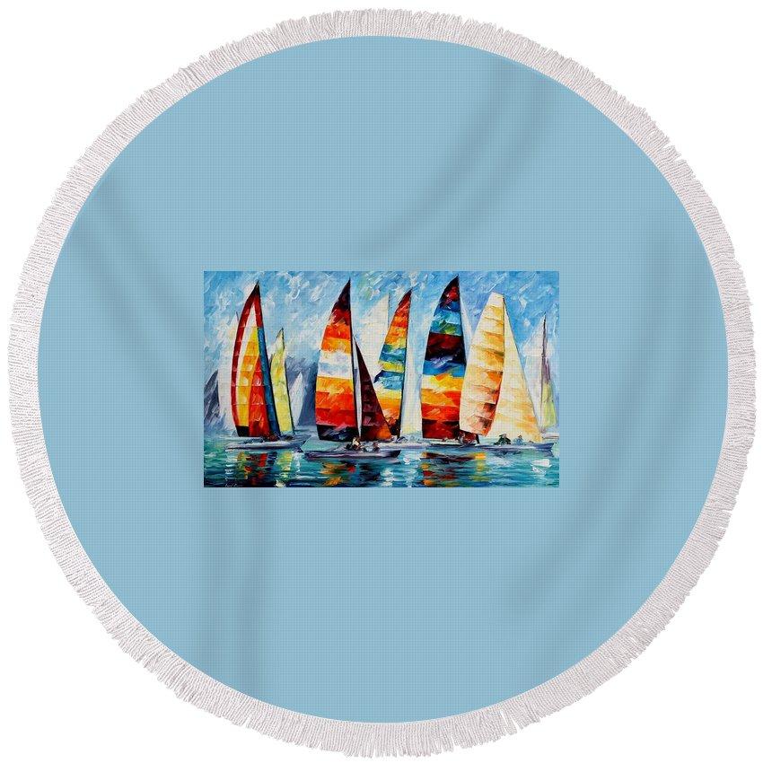 Afremov Round Beach Towel featuring the painting Sail Regatta by Leonid Afremov