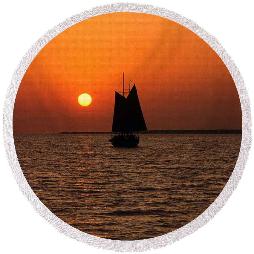 Sailboat Sailing Into Sunset Round Beach Towel featuring the photograph Sailing Into The Sunset by Sally Weigand