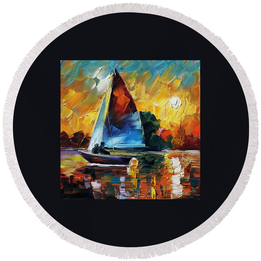 Afremov Round Beach Towel featuring the painting Sailing by Leonid Afremov